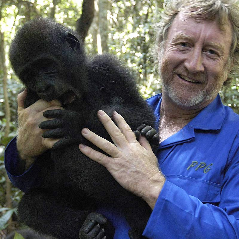 Mike with baby gorilla